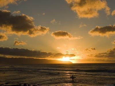 A Surfer Wades into the Water at Rocky Point at Sunset-Charles Kogod-Photographic Print