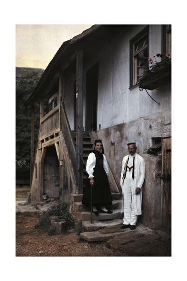 A Swabian Couple Poses at the Foot of the Staircase to their Home-Hans Hildenbrand-Photographic Print