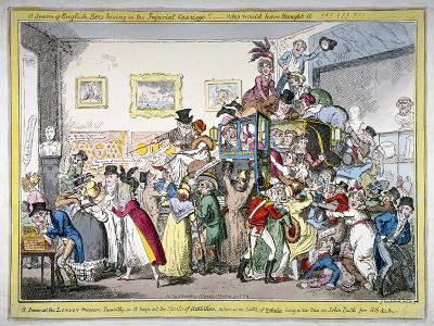 A Swarm of English Bees Hiving in the Imperial Carriage!! a Scene at the London Museum, 1816-George Cruikshank-Giclee Print