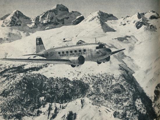 A Swissair plane flying near St Moritz Aerodrome, Switzerland, c1936 (c1937)-Unknown-Photographic Print