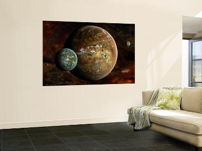 A System of Extraterrestrial Planets and their Moons-Stocktrek Images-Wall Mural