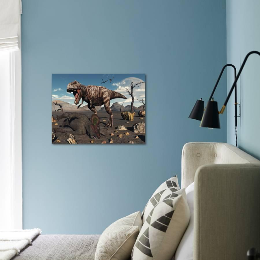 A T  Rex Is About to Make a Meal of a Dead Triceratops Photographic Print  by Stocktrek Images | Art com