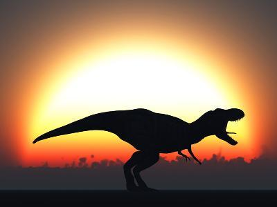 A T. Rex Silhouetted Against the Setting Sun at the End of a Prehistoric Day-Stocktrek Images-Photographic Print