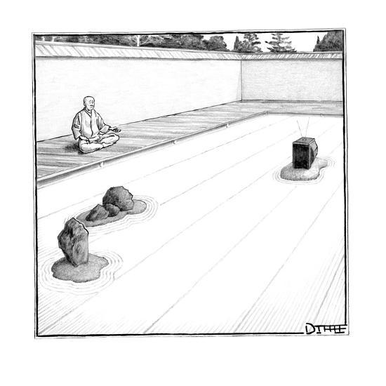 A T.V. replaces a rock in a monk's zen garden. - New Yorker Cartoon-Matthew Diffee-Premium Giclee Print