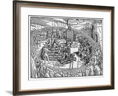 A Table Describing the Burning of Bishop Ridley and Father Latimer at Oxford--Framed Giclee Print