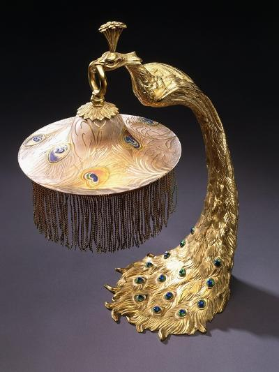A Table Lamp with the Base Cast as a Peacock Holding the Glass Shade from its Mouth, C.1900--Giclee Print