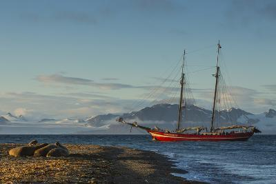 A Tall-masted Schooner, the Northern Light, Anchored Off a Beach-Ralph Lee Hopkins-Photographic Print