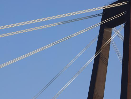 A Tall Suspension Bridge Support with Cables--Photographic Print