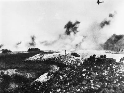 A Tank and Air Battle--Photographic Print