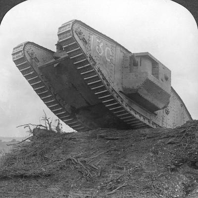 A Tank Breaking Through the Wire at Cambrai, France, World War I, C1917-C1918--Photographic Print