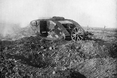 A Tank in Action on the Western Front, Somme, France, First World War, 1914-1918--Giclee Print