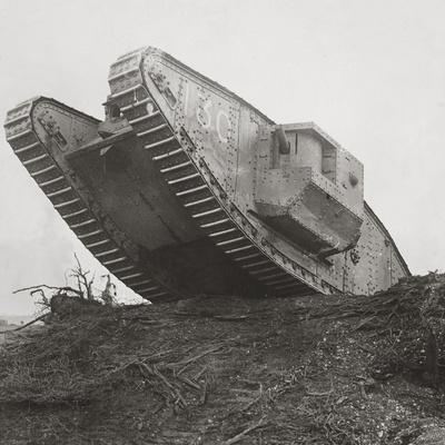A Tank Leads the Infantry into Action and Breaks Down the Wire Entanglements-English Photographer-Photographic Print