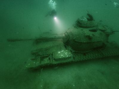 A Tank Sunk in a Zone of Artificial Reefs Off the Coast of Alabama-David Doubilet-Photographic Print