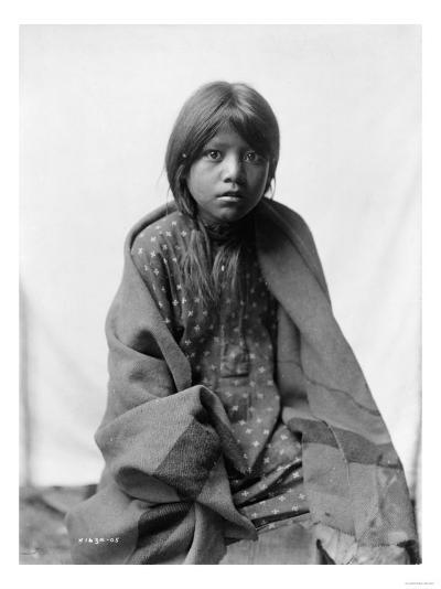 A Taos Girl Native American Edward Curtis Photograph-Lantern Press-Art Print