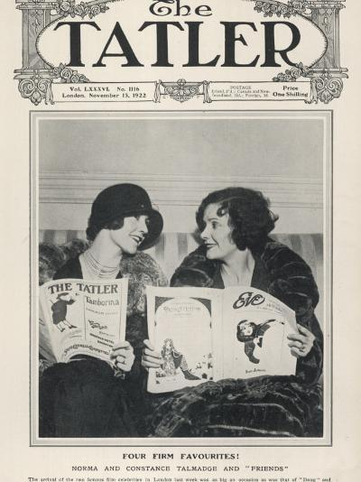 A Tatler Cover to Celebrate the Arrival of Film Celebrities Norma and Constance Talmadge to London--Photographic Print