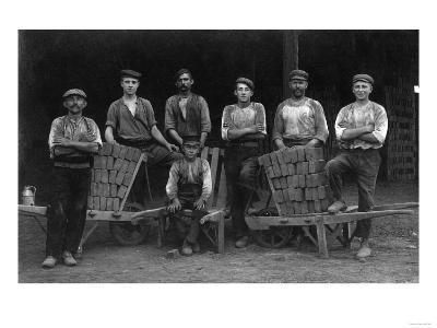 A Team of Bricklayers and Brick Carts-Lantern Press-Art Print