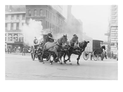 A Team of Horses Pulls a Steam Pumper across Paved Streets Toward a Fire Scene.--Art Print