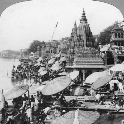 A Temple and Ghats on the Ganges at Benares (Varanas), India, 1900s