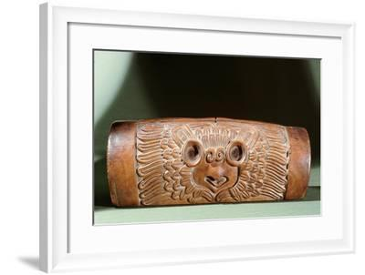 A Teponaztli or Two-Toned Drum with a Horned Owl Carved on the Side--Framed Giclee Print