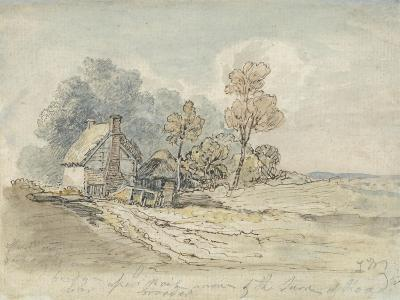 A Thatched Cottage and Trees at the Turn of a Country Road (Pen and W/C on Paper)-James Ward-Giclee Print