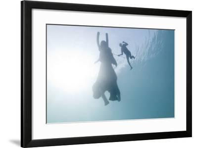 A the Mahout, and Rajan, the Elephant, Swim in Havelock, Andaman Islands, India-Cesare Naldi-Framed Photographic Print