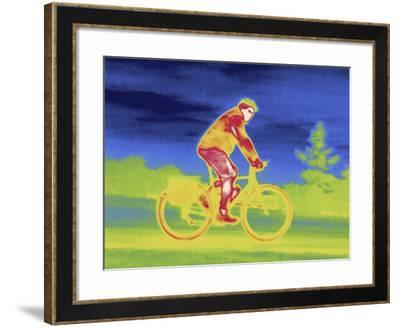 A Thermal Image of Bicycle Rider on an Incline-Tyrone Turner-Framed Photographic Print