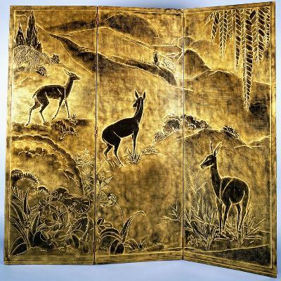 A Three-Fold Lacquer Screen, Depicting Deer in a Landscape of Hills-Jean Dunand-Giclee Print