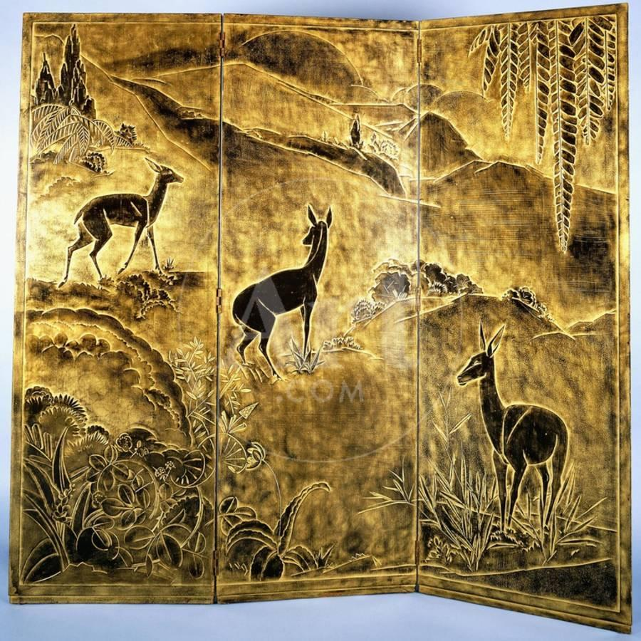 A Three-Fold Lacquer Screen, Depicting Deer in a Landscape of Hills ...