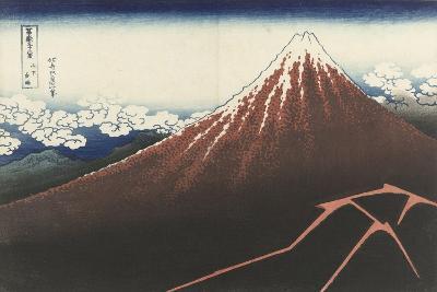 A Thunderstorm Below The Summit, c.1830-Katsushika Hokusai-Giclee Print