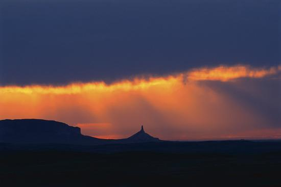 A Thunderstorm Rolls in over Chimney Rock-Michael Forsberg-Photographic Print