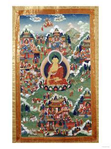 A Tibetan Thang.ka, Buddha Shakyamuni Surrounded by Many Scenes from His Previous Lives, 18th C