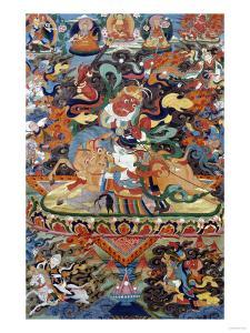 A Tibetan Thang.ka Depicting Shri Devi Seated Astride Her Mule, circa 1900