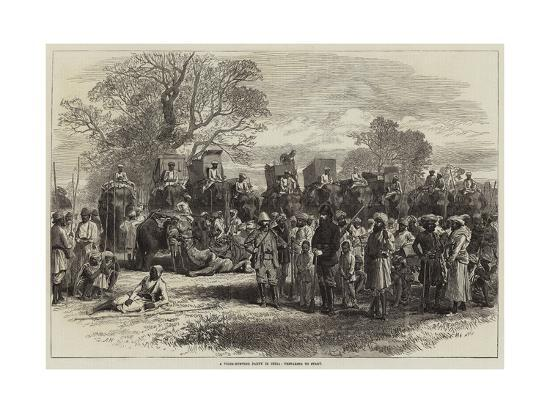 A Tiger-Hunting Party in India, Preparing to Start-Arthur Hopkins-Giclee Print