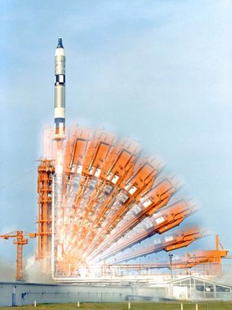 A Time-Exposure Photograph Shows the Configuration of Pad 19 Up Until the Launch of Gemini 10