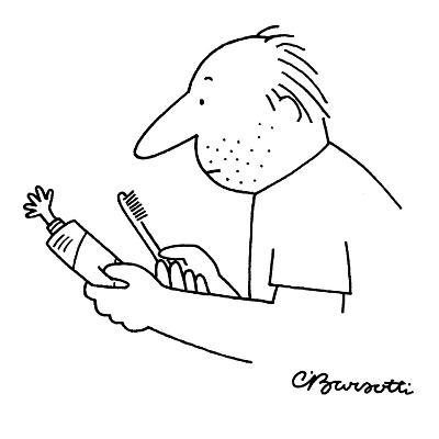 A tiny hand projects out from a squeezed toothpaste tube. - New Yorker Cartoon-Charles Barsotti-Premium Giclee Print