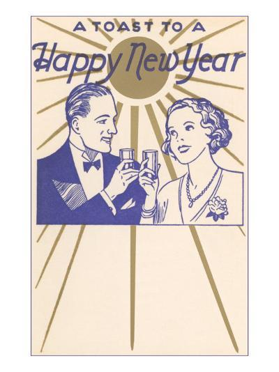 A Toast to a Happy New Year, Couple--Art Print
