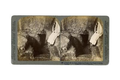 A Tomb with the Entrance Stone Rolled Away, Jerusalem, 1901-Underwood & Underwood-Giclee Print
