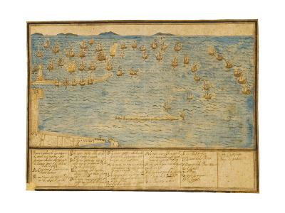 A Topographical Depiction of the Battle of Leghorn, C.1653 (Ink and W/C on Paper)-Alfonso Parigi the Younger-Giclee Print
