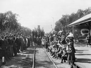 A Touring Recruiting Train at the Railway Station with Some of the Town's Citizens (Donor Queenslan