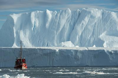 A Tourist Boat in the Waters of the Ilulissat Icefjord-Michael Melford-Photographic Print