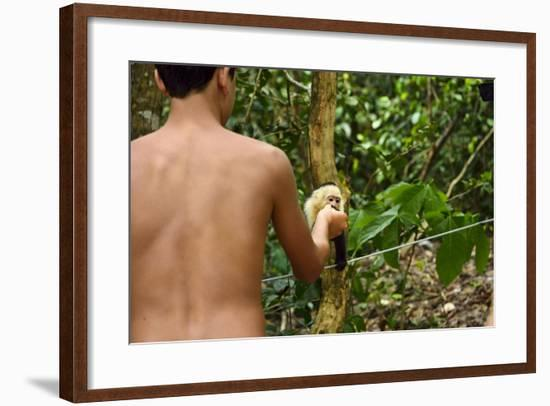 A Tourist Hands a Piece of Fruit to a White-Faced Capuchin Monkey, Cebus Capucinus-Jonathan Kingston-Framed Photographic Print