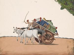 A Trader or Migrant on a Cart with His Belongings, Being Pulled by Two White Oxen, from…