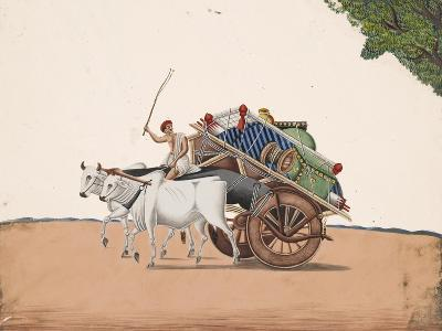 A Trader or Migrant on a Cart with His Belongings, Being Pulled by Two White Oxen, from…--Giclee Print