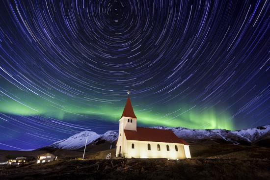 A Traditional Icelandic Church Is Framed By The Stunning Aurora Borealis-Joe Azure-Photographic Print