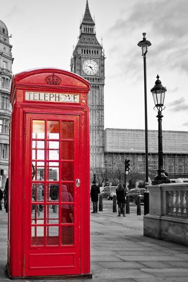 A Traditional Red Phone Booth In London With The Big Ben In A Black And White Background-Kamira-Photographic Print
