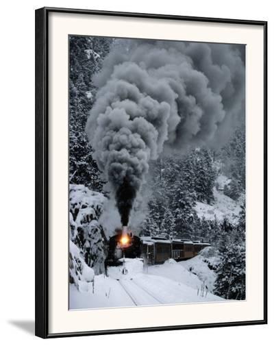A Train Chugs Through the Snow Blanketing the San Juan Mountains-Paul Chesley-Framed Photographic Print