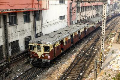A Train Comes into the Station at Mumbai Central Local Station-Jill Schneider-Photographic Print