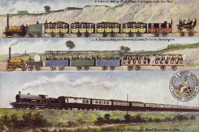 A Train of 1837 Compared with the Special Anglo-American Boat Express in 1904--Giclee Print