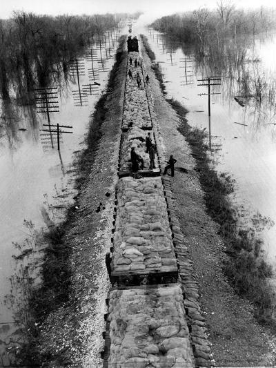 A Trainload of Sandbags is Transported to Line the Mississippi Mainline Levees--Photographic Print