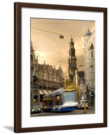 A Tram Near Westerkerk Church and Prisengracht Street-Daniella Nowitz-Framed Photographic Print